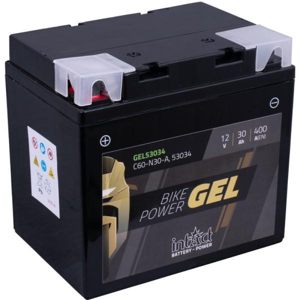 Intact GEL53034 Bike-Power GEL 30Ah Motorradbatterie (DIN 53034) C60-N30-A