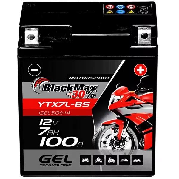 YTX7L-BS Motorradbatterie 12V 6Ah BlackMax Gel CTX7L-BS (DIN 50614)