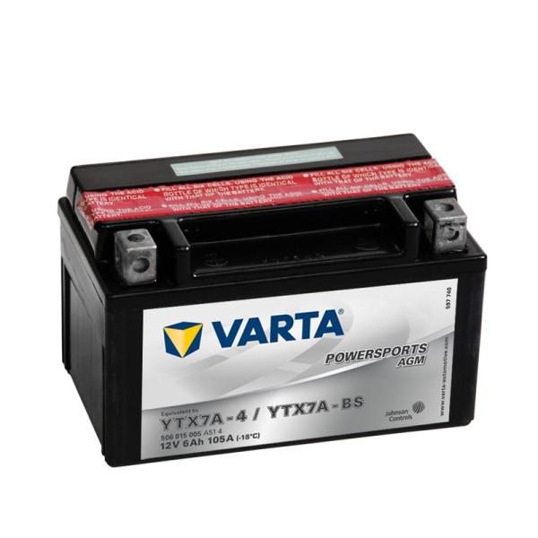 VARTA Powersports AGM YTX7A-BS 6Ah Motorradbatterie 12V (DIN 50615)