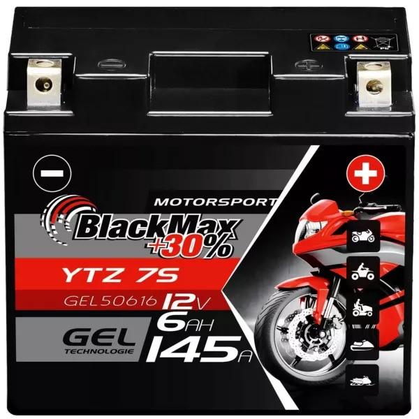 YTZ-7S Motorradbatterie 12V 6Ah BlackMax Gel CTZ-7S/GTZ-7S (DIN 50616)