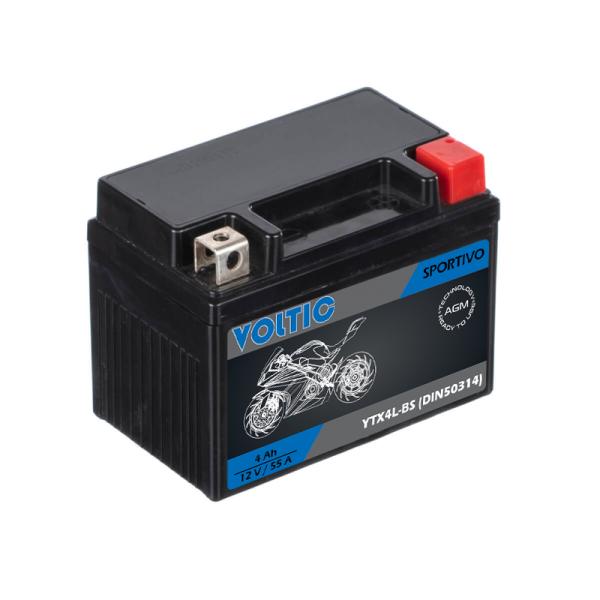 VOLTIC Sportivo AGM YTX4L-BS Motorradbatterie 4Ah 12V (DIN 50314)