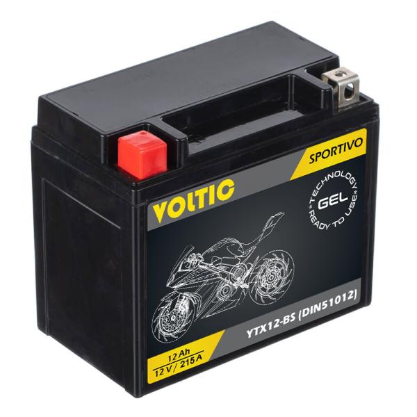 VOLTIC Sportivo GEL YTX12-BS Motorradbatterie 12Ah 12V (DIN 51012)