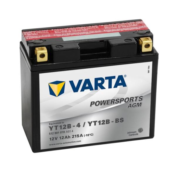 VARTA Powersports AGM YT12B-BS 12Ah Motorradbatterie 12V (DIN 51015)