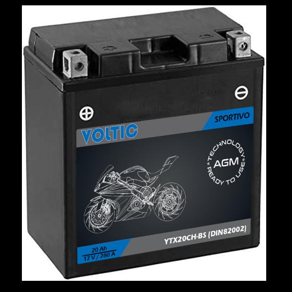 VOLTIC Sportivo AGM YTX20CH-BS Motorradbatterie 20Ah 12V (DIN 82002)