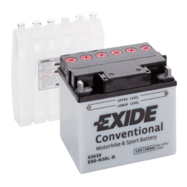 Exide E60-N30L-B Conventional 30Ah Motorradbatterie (DIN 53030) Y60-N30L-B