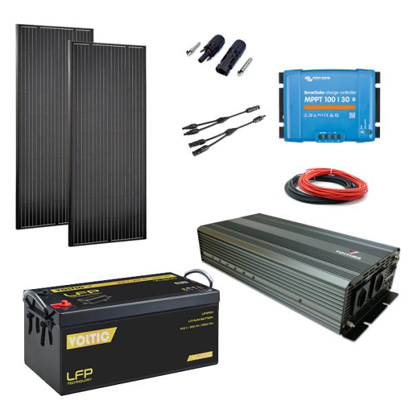 Solaranlage Set 360W mit Batterie 200Ah(LiFePO4) und 2000W-Wechselrichter