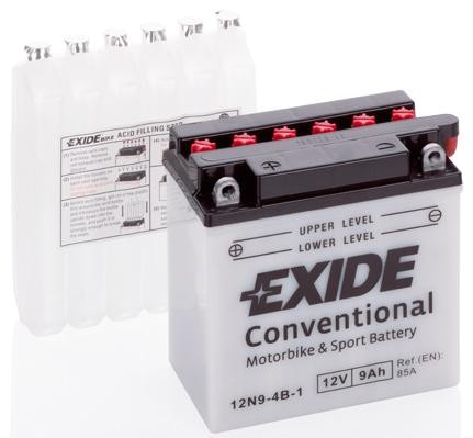 Exide 12N9-4B-1 Conventional 9Ah Motorradbatterie (DIN 50914) YB9-B