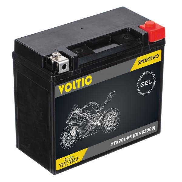 VOLTIC Sportivo GEL YTX20L-BS Motorradbatterie 20Ah 12V (DIN 82000)