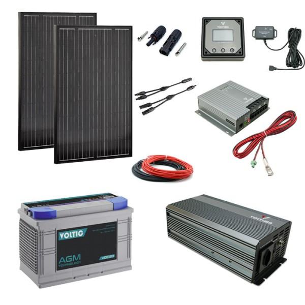 Solaranlage Set 220W mit Batterie 120Ah und 1000W-Wechselrichter
