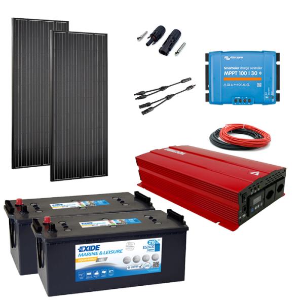 Solaranlage Set 360W mit Batterie 420Ah und 2000W-Wechselrichter