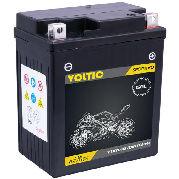 VOLTIC Sportivo GEL YTX7L-BS Motorradbatterie 7Ah 12V (DIN 50614)