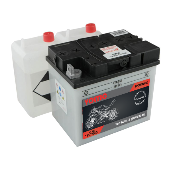 Voltic Sportivo Classic Y60-N30L-B Motorradbatterie 30Ah (DIN 53030)