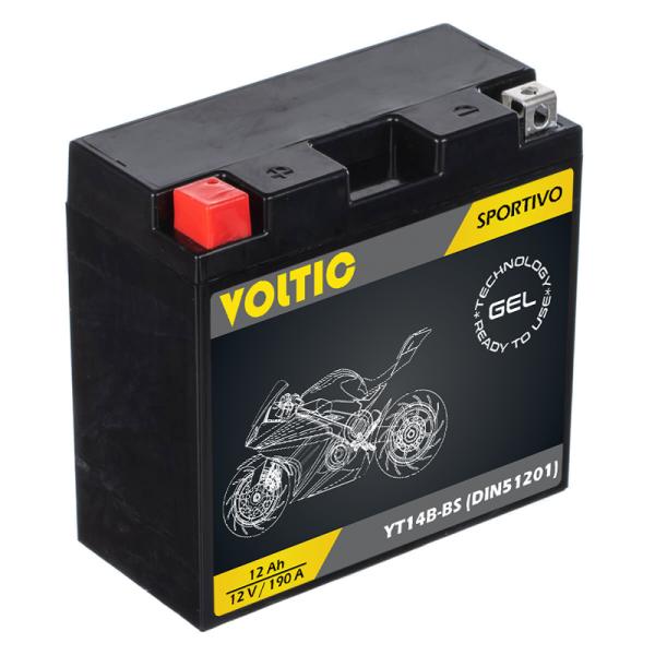 VOLTIC Sportivo GEL YT14B-BS Motorradbatterie 12Ah 12V (DIN 51201)
