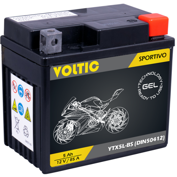 VOLTIC Sportivo GEL YTX5L-BS Motorradbatterie 5Ah 12V (DIN 50412)