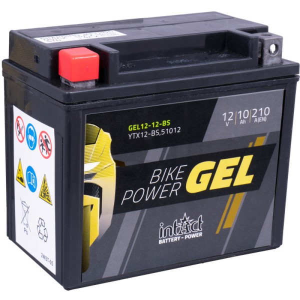 Intact GEL12-12-BS Bike-Power GEL 10Ah Motorradbatterie (DIN 51012) YTX12-BS