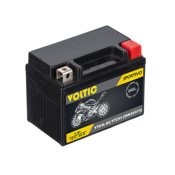 VOLTIC Sportivo GEL YTX4L-BS / YTZ5-S Motorradbatterie 5Ah 12V (DIN 50314)