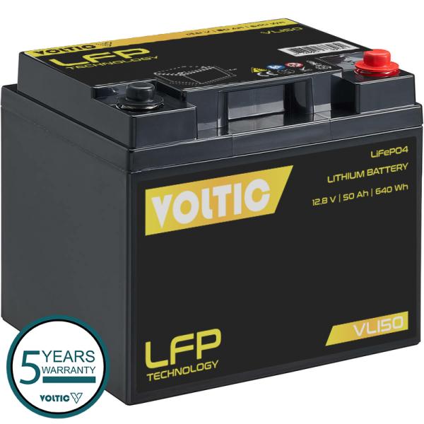VOLTIC VLI50 12V LiFePO4 Lithium Versorgungsbatterie 50Ah