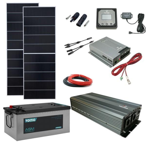 Solaranlage Set 380W mit Batterie 230Ah und 2500W-Wechselrichter