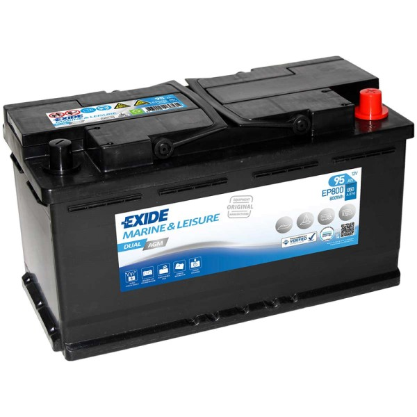 exide ep800 dual agm 95ah batterie. Black Bedroom Furniture Sets. Home Design Ideas