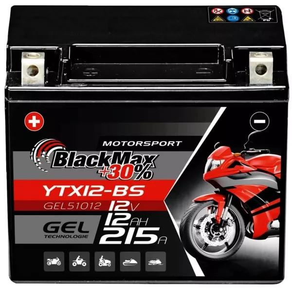 YTX12-BS Motorradbatterie 12V 12Ah BlackMax Gel CTX12-BS (DIN 51012)