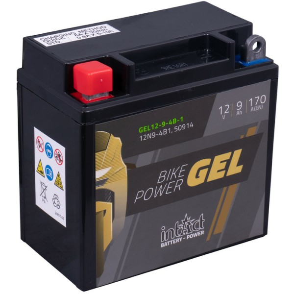 Intact GEL12-9-4B-1 Bike-Power GEL 9Ah Motorradbatterie (DIN 50914) 12N9-4B-1