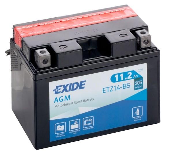 Exide ETZ14-BS AGM 11,2Ah Motorradbatterie 12V (DIN 51101) YTZ14-S