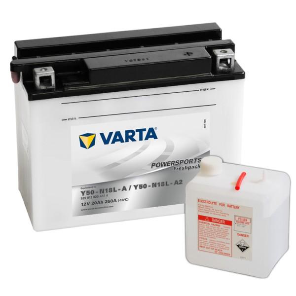 VARTA Powersports Freshpack Y50-N18L-A 20Ah Motorradbatterie 12V (DIN 52012)