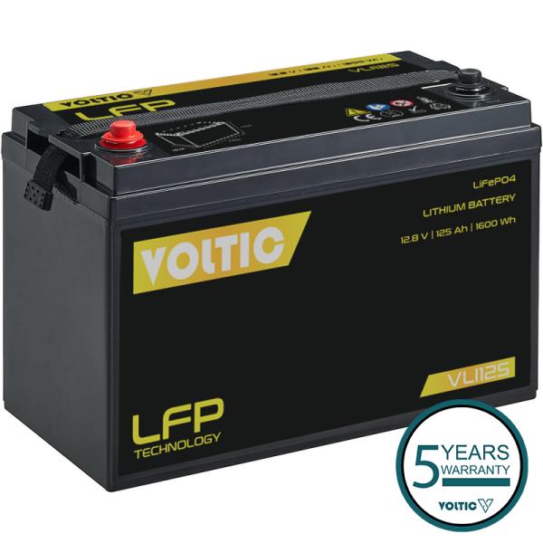 VOLTIC VLI125 12V LiFePO4 Lithium Versorgungsbatterie 125Ah