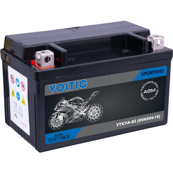 VOLTIC Sportivo AGM YTX7A-BS Motorradbatterie 6Ah 12V (DIN 50615)