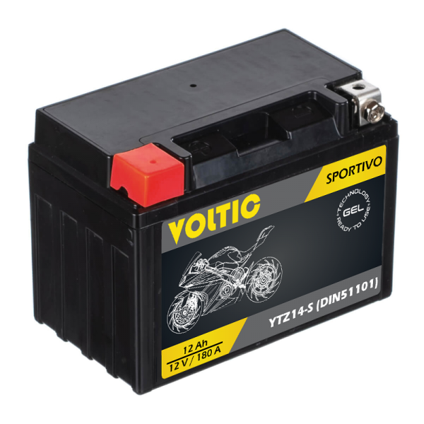 VOLTIC Sportivo GEL YTZ14-S Motorradbatterie 12Ah 12V (DIN 51101)