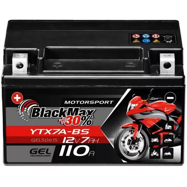 YTX7A-BS Motorradbatterie 12V 7Ah BlackMax Gel CTX7A-BS (DIN 50615)