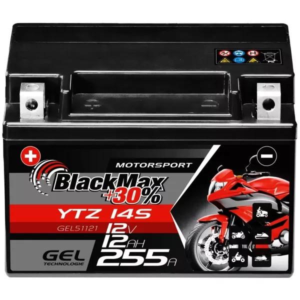 YTZ14S Motorradbatterie 12V 12Ah BlackMax Gel (DIN 51101)