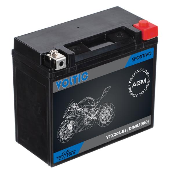 VOLTIC Sportivo AGM YTX20L-BS Motorradbatterie 20Ah 12V (DIN 82000)