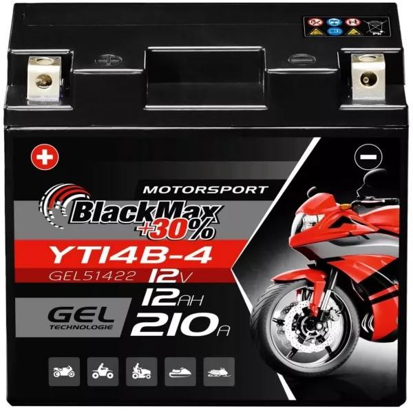 YT14B-BS Motorradbatterie 12V 12Ah BlackMax Gel YT14B-4 (DIN 51201)