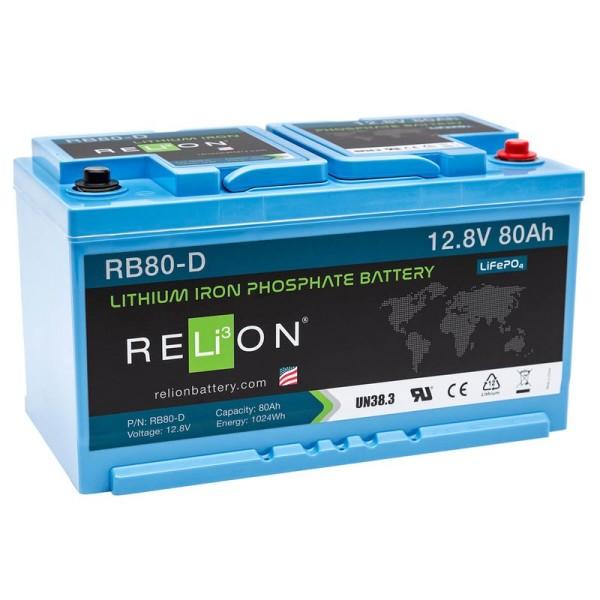 RELiON RB80-D 80Ah 12V LiFePO4 Lithium Versorgungsbatterie